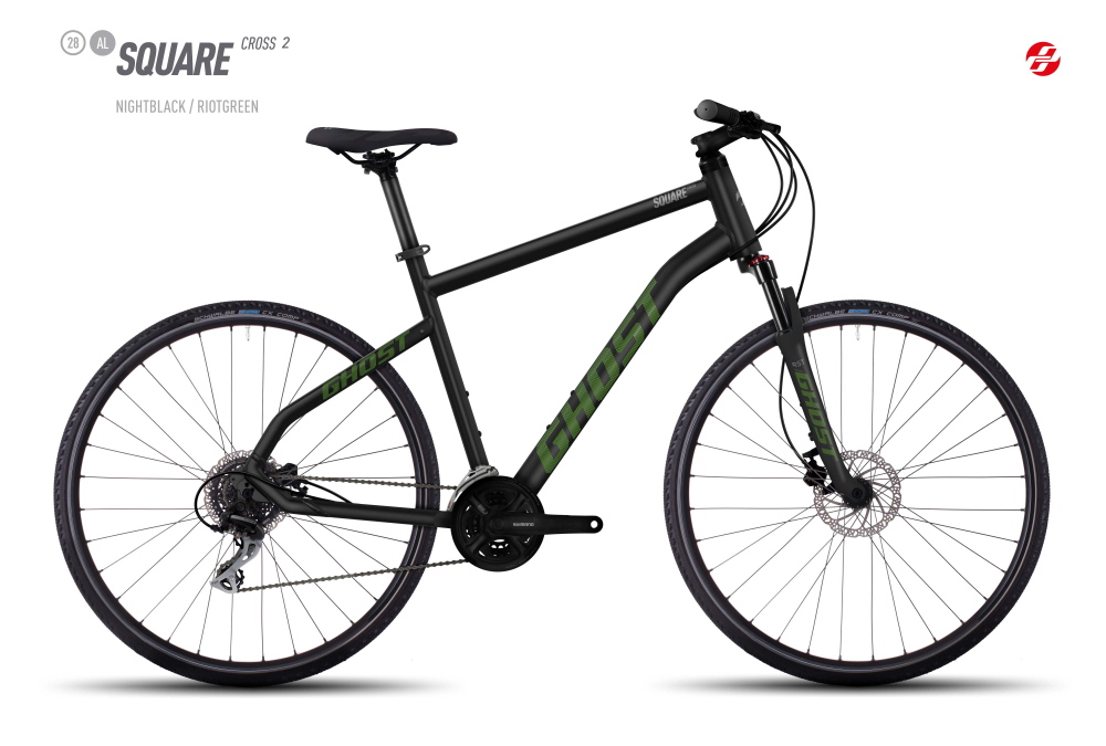 GHOST SQUARE CROSS 2 AL 28 U BLK/RI-GRN/UR-GRY XL - Bikedreams & Dustbikes