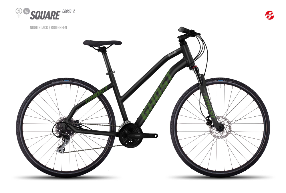 GHOST SQUARE CROSS 2 AL 28 W BLK/RI-GRN/UR-GRY L - Bikedreams & Dustbikes