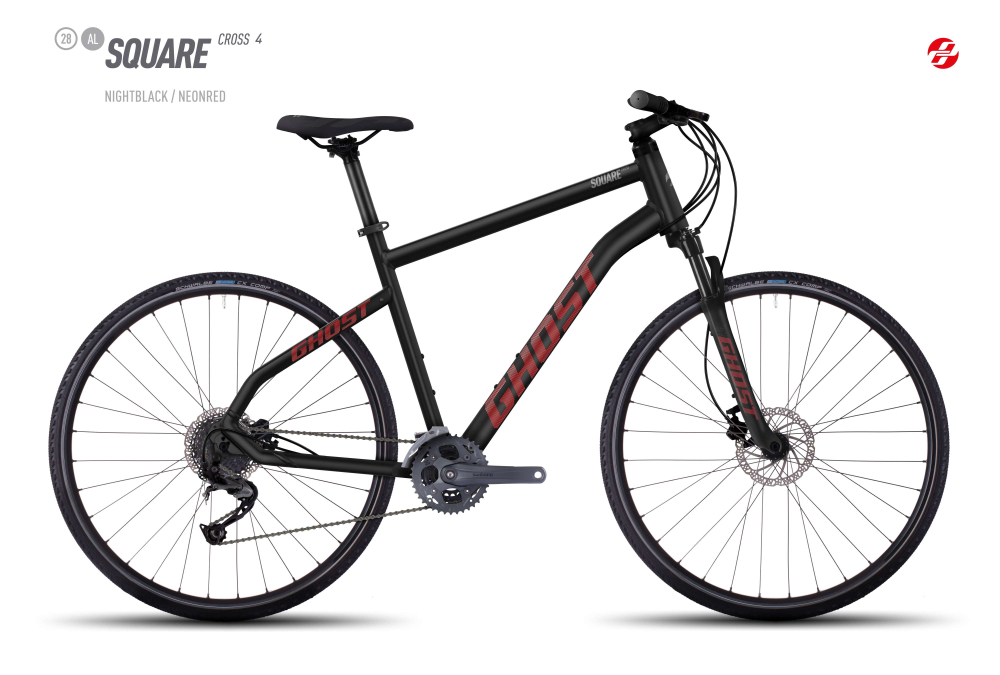 GHOST SQUARE CROSS 4 AL 28 U BLK/NE-RED/UR-GRY L - Bikedreams & Dustbikes