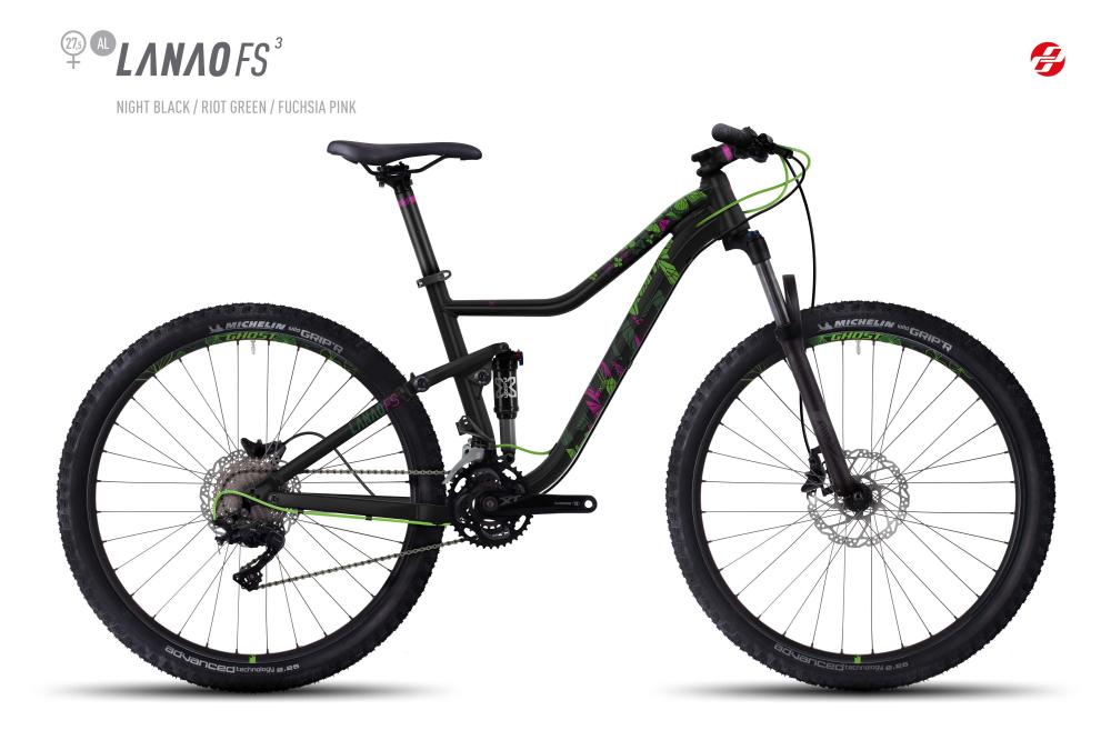 GHOST LANAO FS 3 AL 27,5 W BLK/RI-GRN/FU-PNK M - Bikedreams & Dustbikes