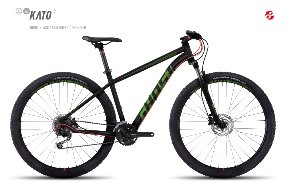 GHOST KATO 3 AL 29 U BLK/RI-GRN/NE-RED XL - Bikedreams & Dustbikes